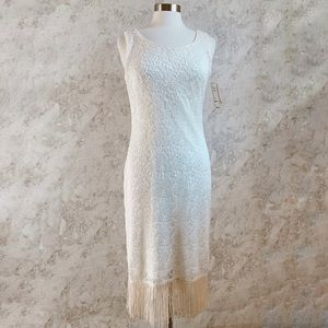 Vintage Dawn Joye Fringe Flapper Ivory Dress M